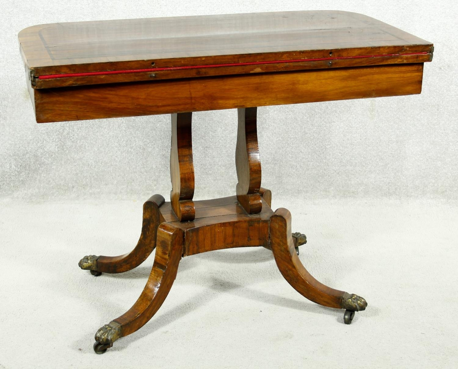 A Regency rosewood card table with foldover baize lined top on twin lyre shaped supports resting - Image 2 of 10
