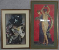 Two framed and glazed prints, one of a detail from the Villa of Mysteries at Pompeii and Jellys Last