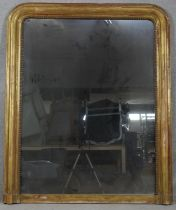 A late 19th century French arched overmantel mirror in beaded gilt frame. H.135 W.111cm