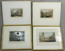 Four framed and glazed 19th century hand coloured engravings of Venice by Charles Heath, J Tingle