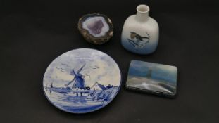 A Royal Copenhagen robin vase, a painted and lacquered signed Russian box with sailing ship