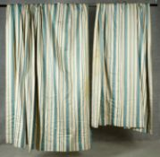 A pair of lined silk green and white striped curtains. H.203. Top W.60, Bottom W.160cm