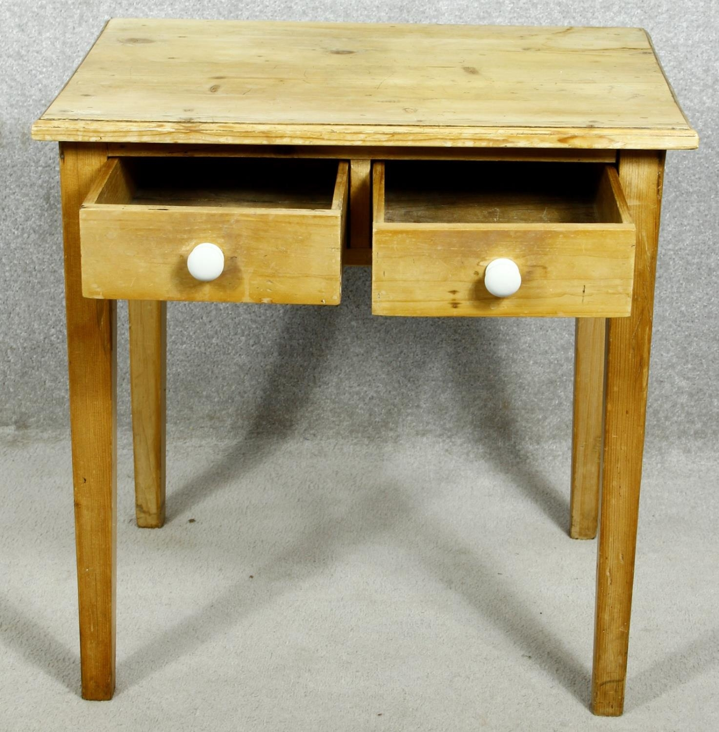 A 19th century pine side table with frieze drawers on square tapering supports. H.63 W.63 D.45cm - Image 2 of 7