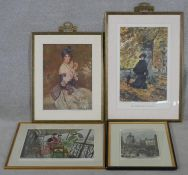 Four framed and glazed coloured prints. Including a hand coloured engraving of the gallery of the