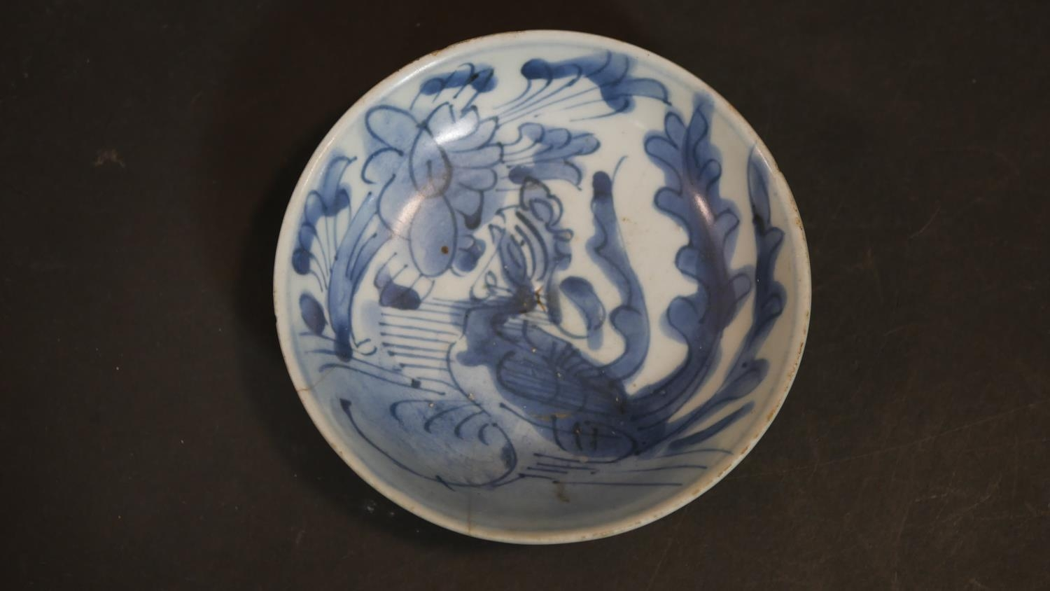 A Chinese embroidered scroll, three items of hand painted blue and white ceramics and a cased carved - Image 11 of 15