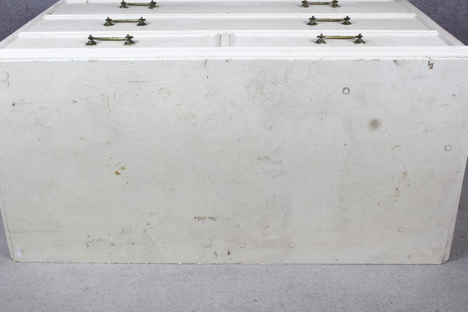 A 19th century later painted chest of two short over three long drawers on plinth base. H.87 W.104 - Image 6 of 14
