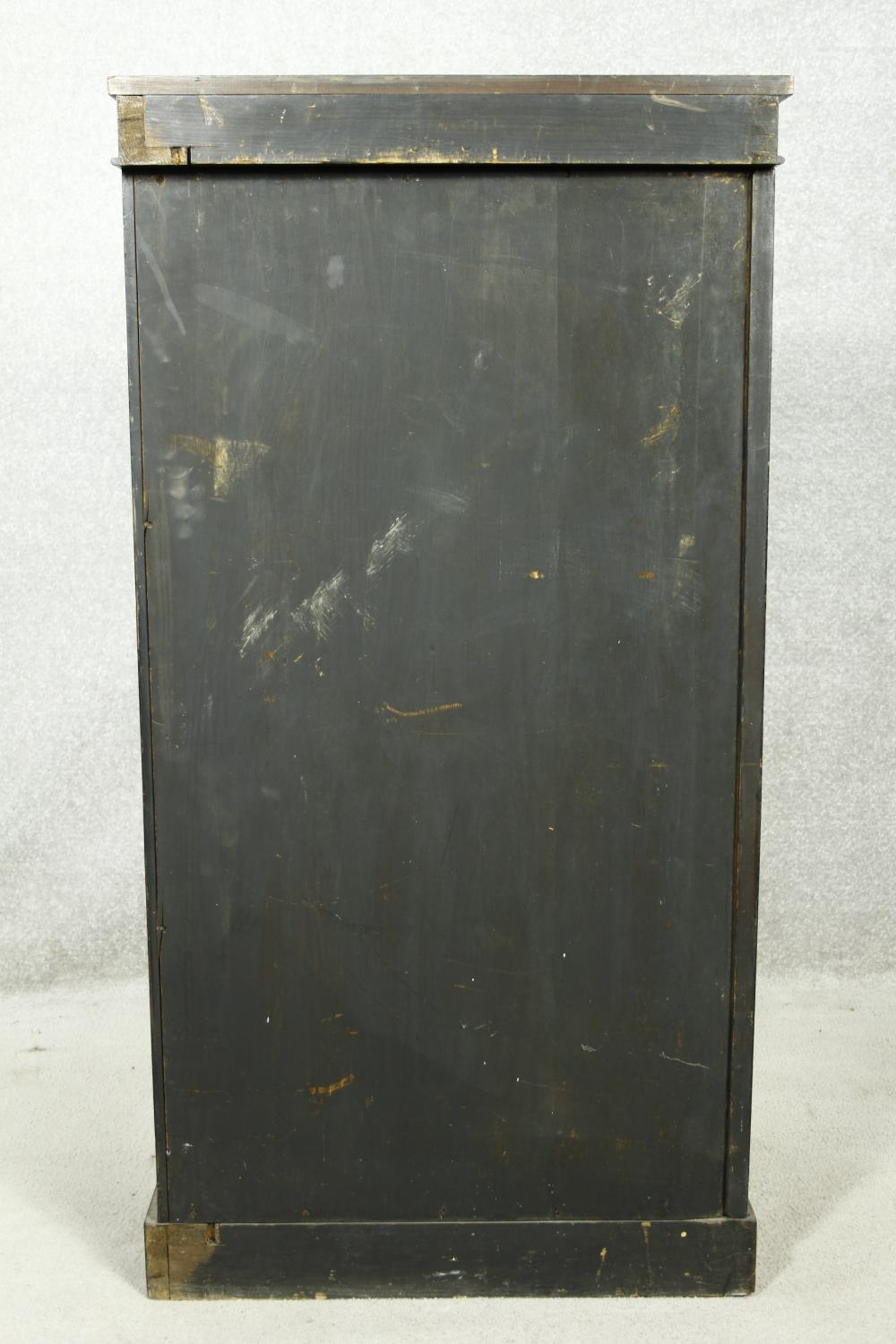 An early Victorian rosewood pier cabinet with arched panel door enclosing shelves on plinth base. - Image 5 of 11