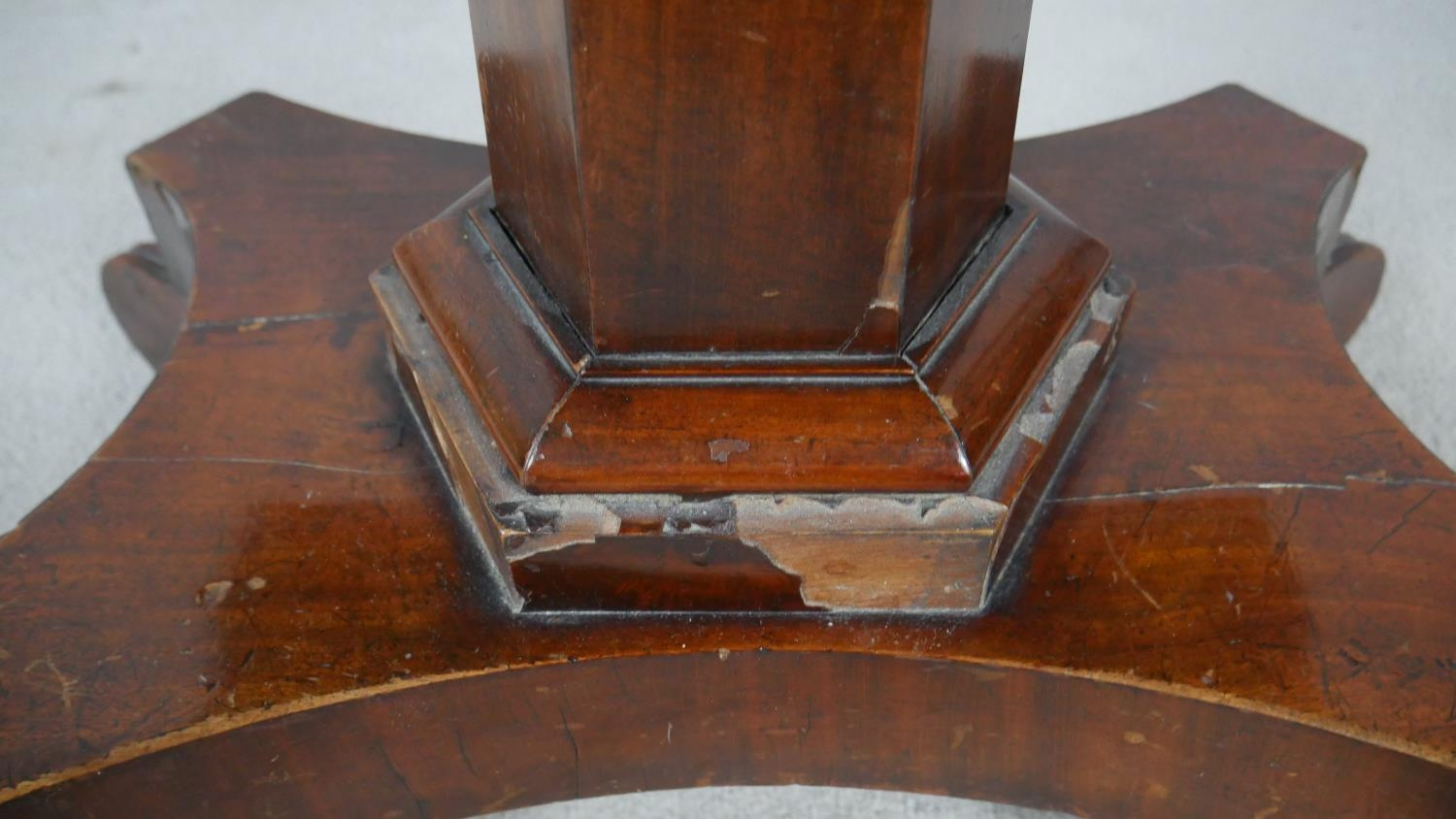 A William IV mahogany fold over top tea table on facetted pedestal quadruped base. H.72 L.48 W.92cm - Image 4 of 7
