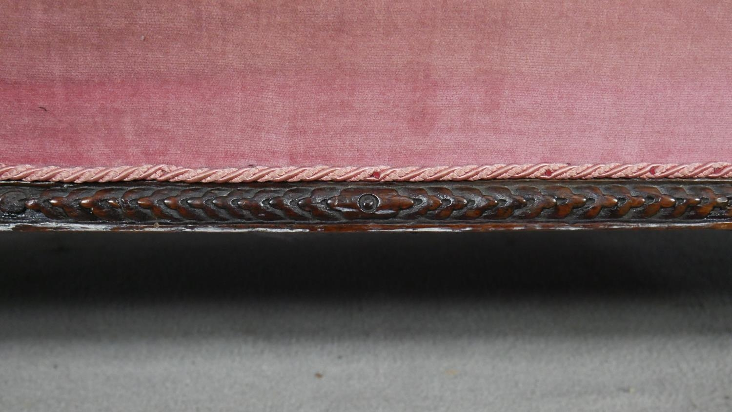 A Victorian carved walnut framed sofa in deep buttoned velour upholstery on fluted tapering - Image 6 of 6