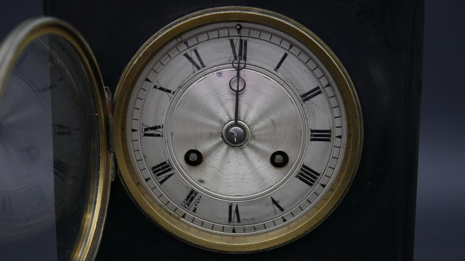 An ormolu and marble clock case on triple Trafalgar dolphin support and feet along with a late - Image 3 of 15