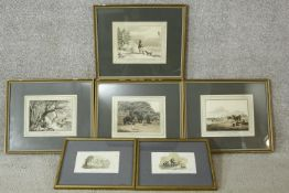 Six framed and glazed 19th century hand coloured engravings. Depicting 'A Siberian Exile shooting