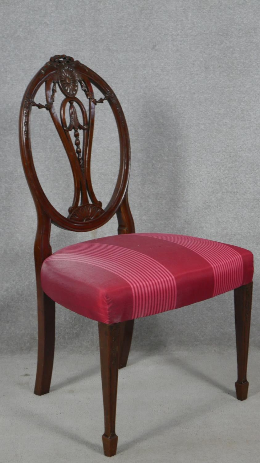 A 19th century mahogany dining chair with carved swag and ribbon detail to the back raised on square - Image 2 of 5