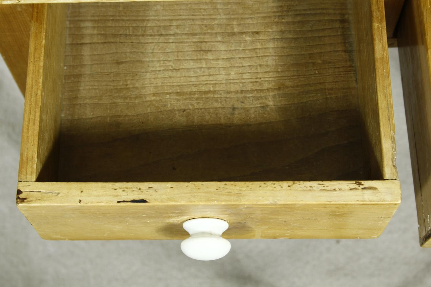 A 19th century pine side table with frieze drawers on square tapering supports. H.63 W.63 D.45cm - Image 3 of 7