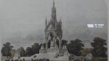 A large framed and glazed hand coloured engraving of the Albert Memorial by M Jackson, Sc. H.105.5