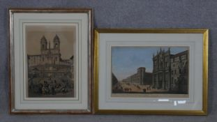 Two framed and glazed 19th century hand coloured engravings one by French engraver Antoine Benoist