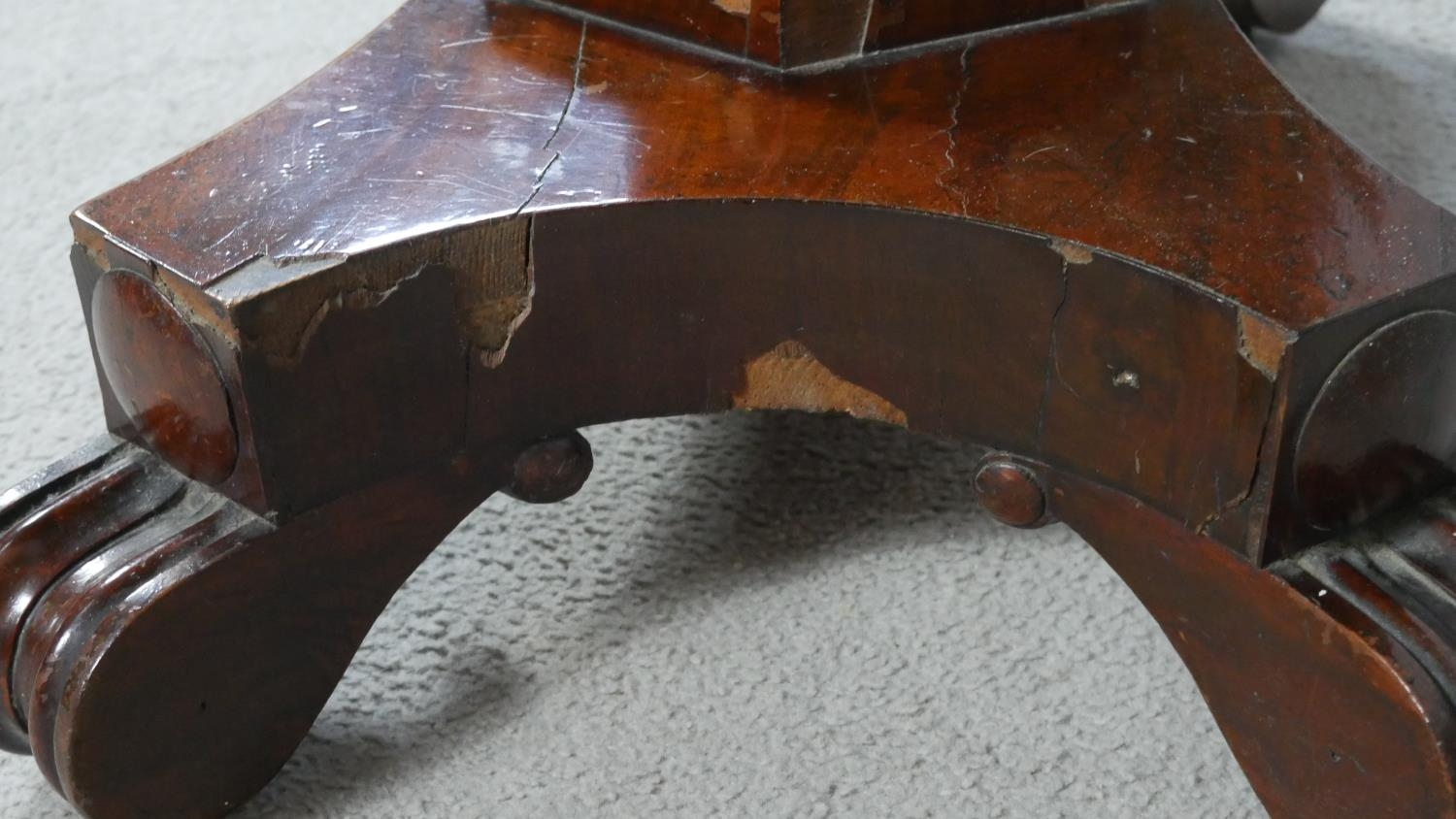 A William IV mahogany fold over top tea table on facetted pedestal quadruped base. H.72 L.48 W.92cm - Image 7 of 7