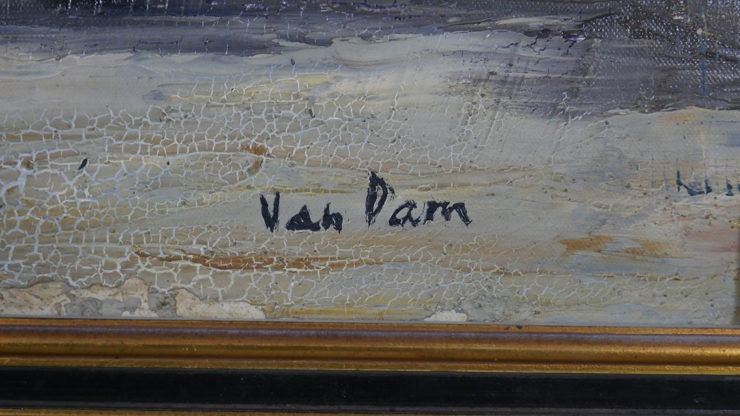 A framed oil on canvas, sunflowers in a vase, signed Van Dam. H.81 W.55.5cm - Image 3 of 7