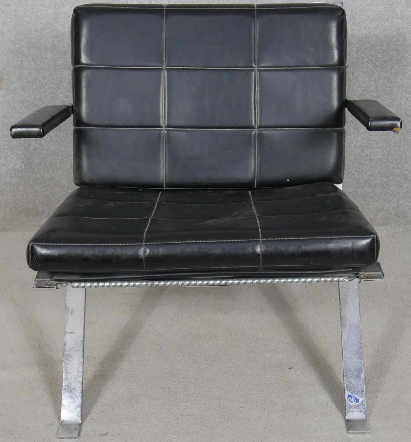 A pair of vintage leather upholstered salon chairs on chrome bases. H.68cm - Image 2 of 4