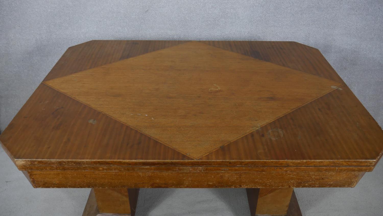 A mid century Art Deco style oak, teak and walnut segment veneered draw leaf dining table H.76 L.251 - Image 2 of 4