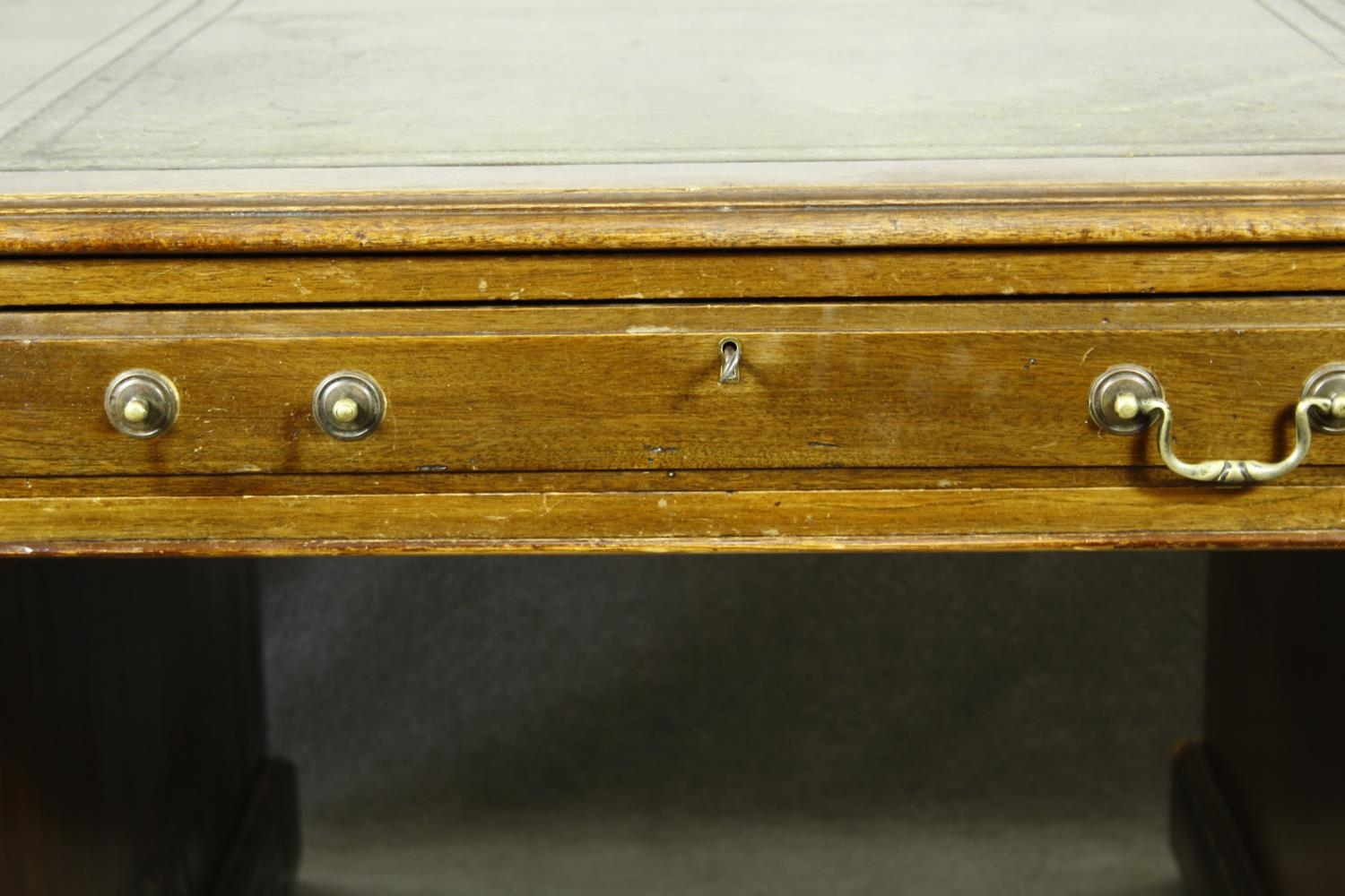 A C.1900 mahogany three section partner's pedestal desk with inset tooled leather top above an - Image 19 of 20