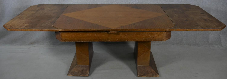 A mid century Art Deco style oak, teak and walnut segment veneered draw leaf dining table H.76 L.251 - Image 4 of 4