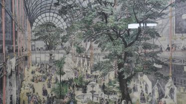 A large framed and glazed hand coloured engraving of the interior of the Great Exhibition at Crystal