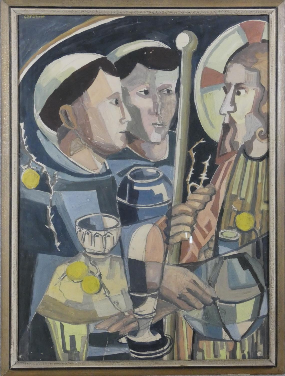 A gilt framed acrylic on paper, Cubist style religeous figural study, signed Caroline. H.84 W.63cm - Image 5 of 6