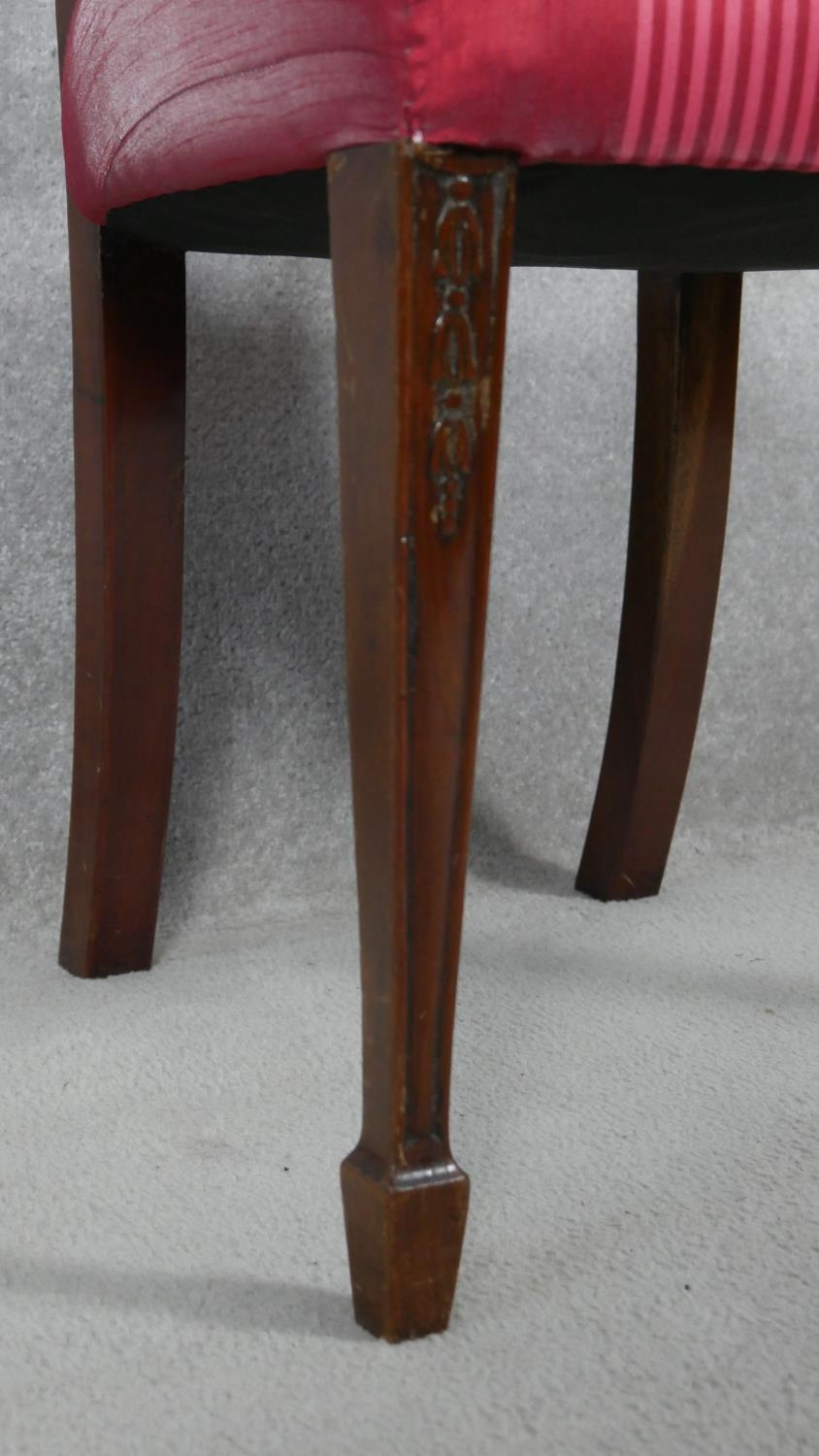 A 19th century mahogany dining chair with carved swag and ribbon detail to the back raised on square - Image 5 of 5
