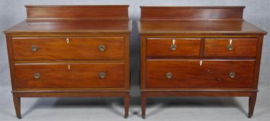 A pair of complementing early 20th century mahogany bedroom chests with ivory inset escutcheons