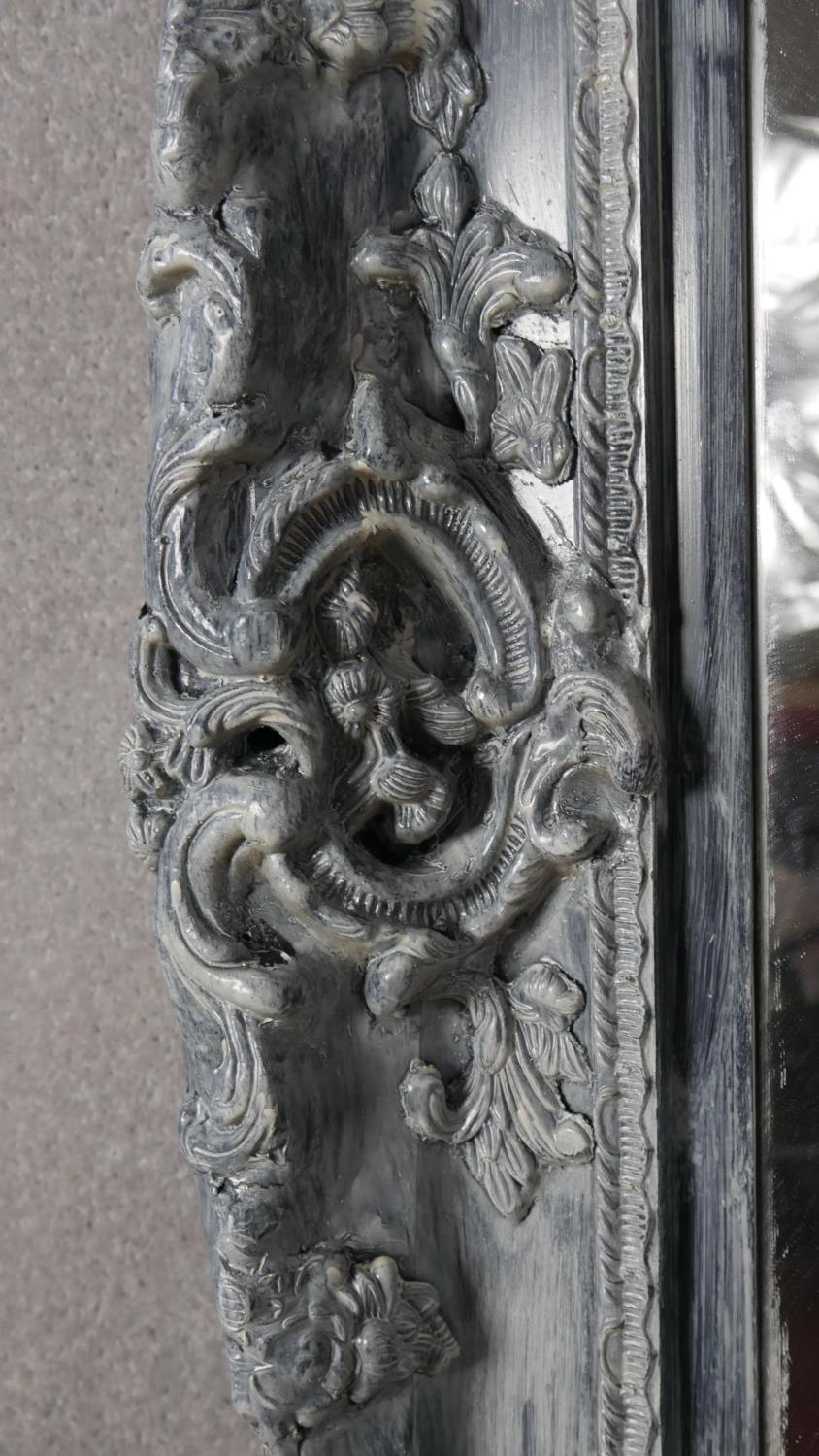 A large wall mirror with bevelled plate in distressed Rococo style frame. H.216 W.154cm - Image 4 of 5