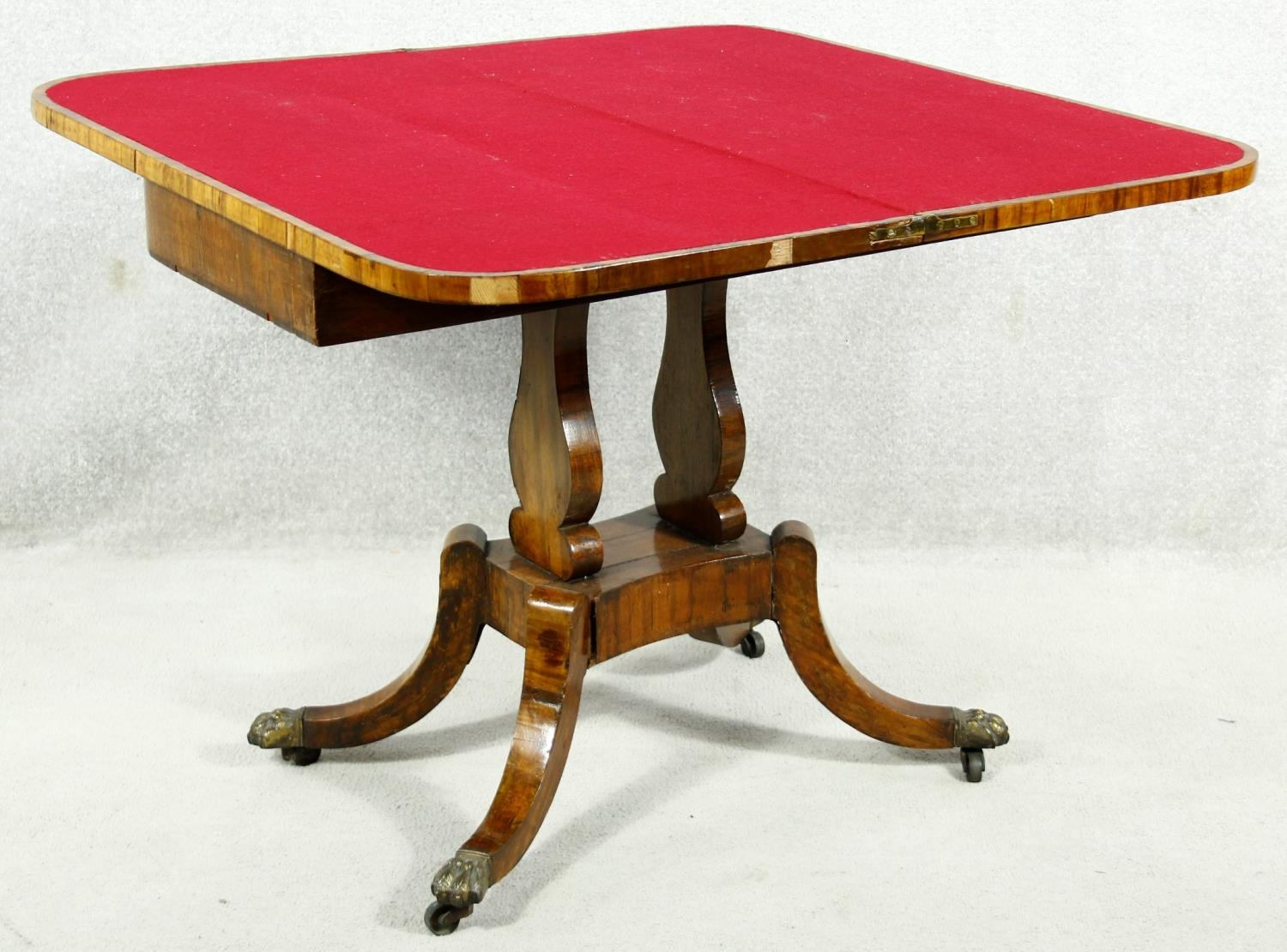 A Regency rosewood card table with foldover baize lined top on twin lyre shaped supports resting - Image 4 of 10
