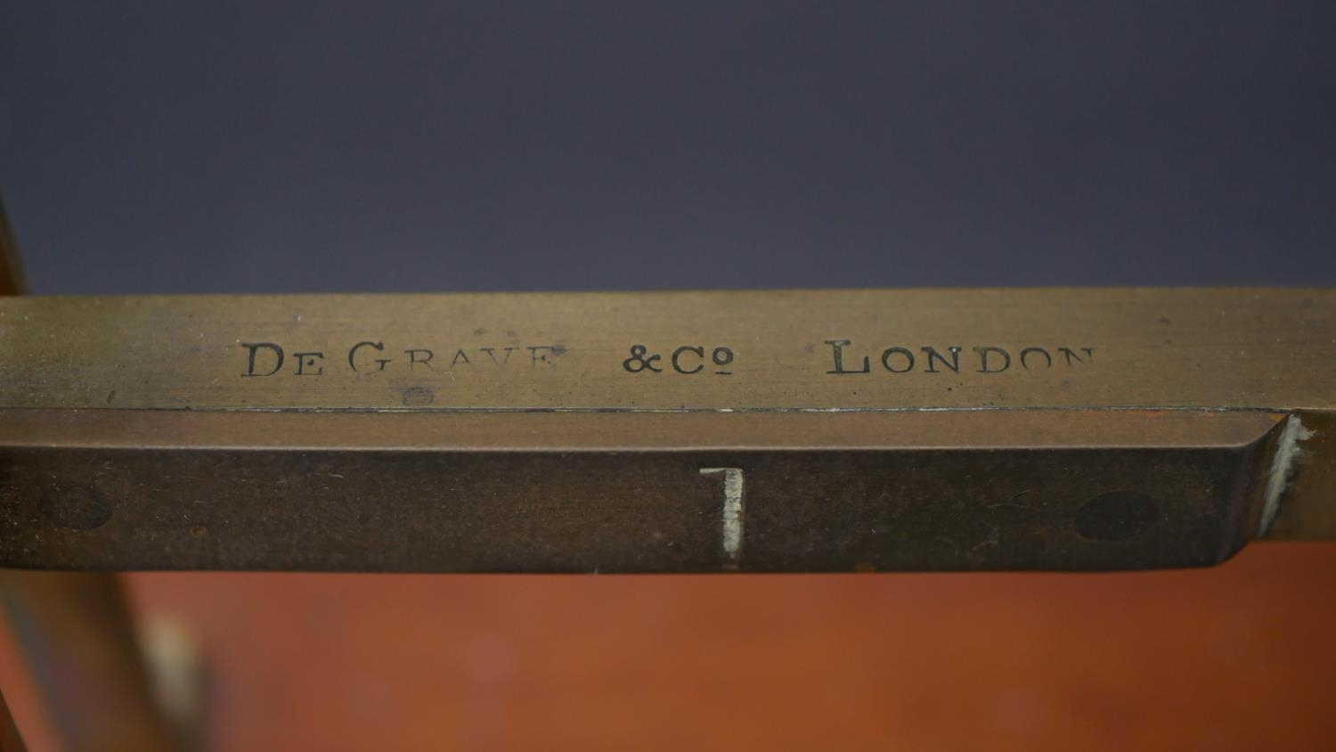 A set 19th century GPO brass triple ladder letter scales stamped De Grave & Co, London. H.33 L.41 - Image 3 of 4
