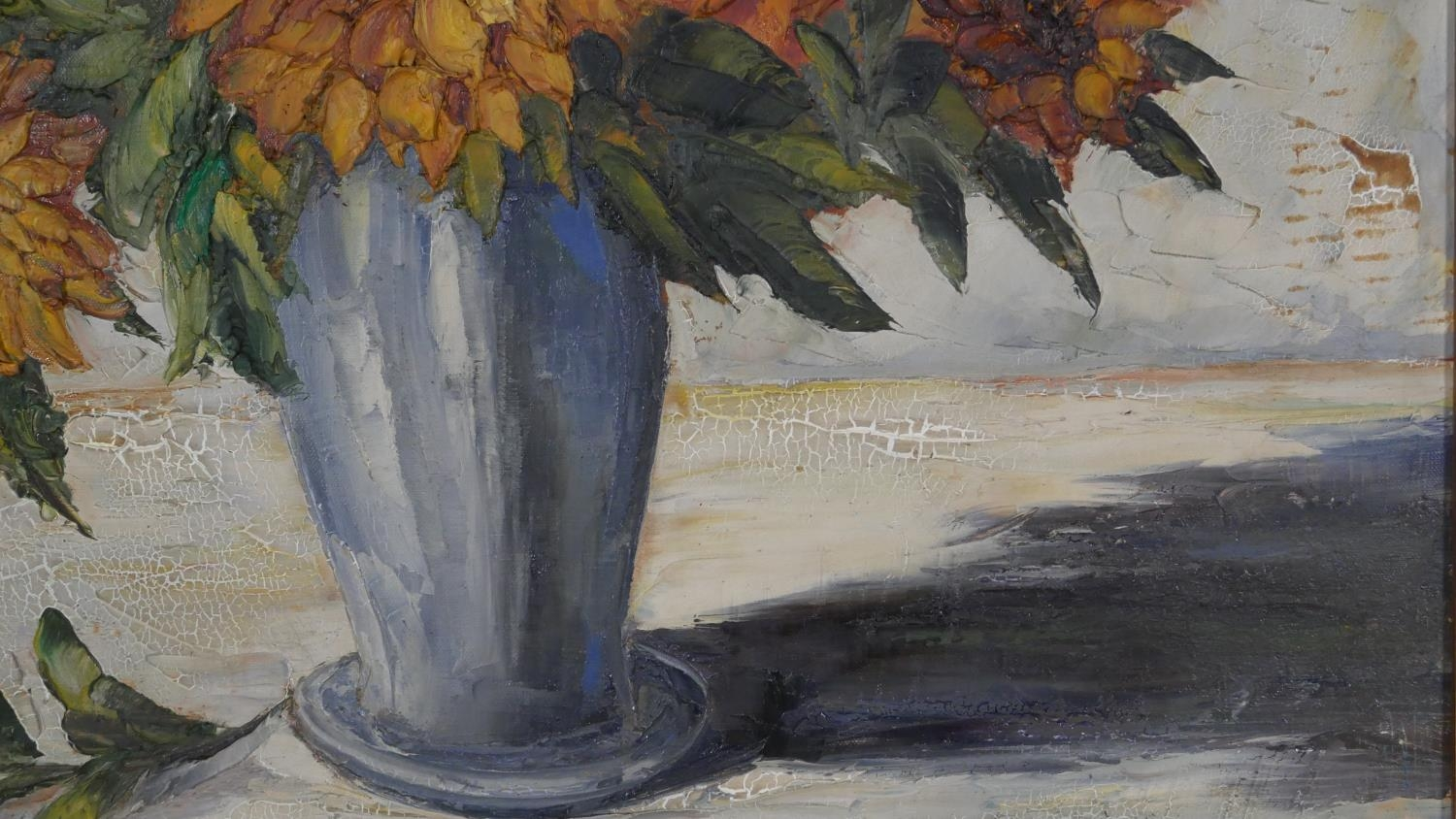 A framed oil on canvas, sunflowers in a vase, signed Van Dam. H.81 W.55.5cm - Image 4 of 7