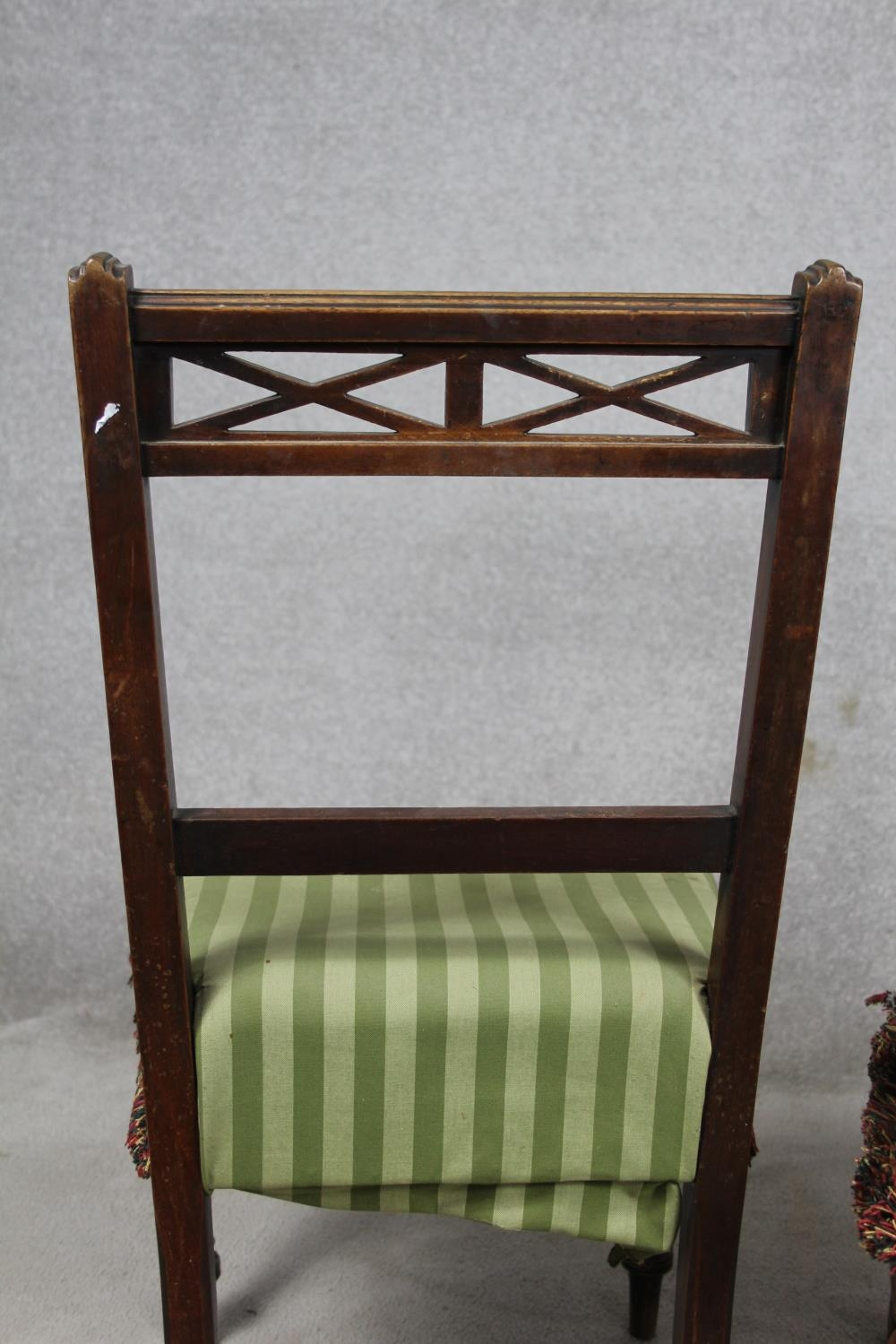 A pair of late 19th century mahogany bedroom chairs on turned tapering supports. H.87 W.48 D.50cm - Image 8 of 11