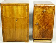 A mid century walnut Art Deco style record cabinet and a similar bedside cabinet. H.75 W.51 D.38cm