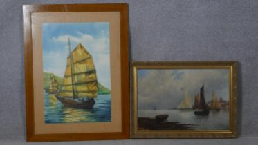 A framed oil on canvas, sailing ships in a harbour setting, indistinctly signed and a framed and