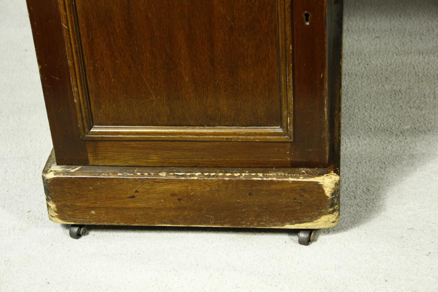A C.1900 mahogany three section partner's pedestal desk with inset tooled leather top above an - Image 20 of 20