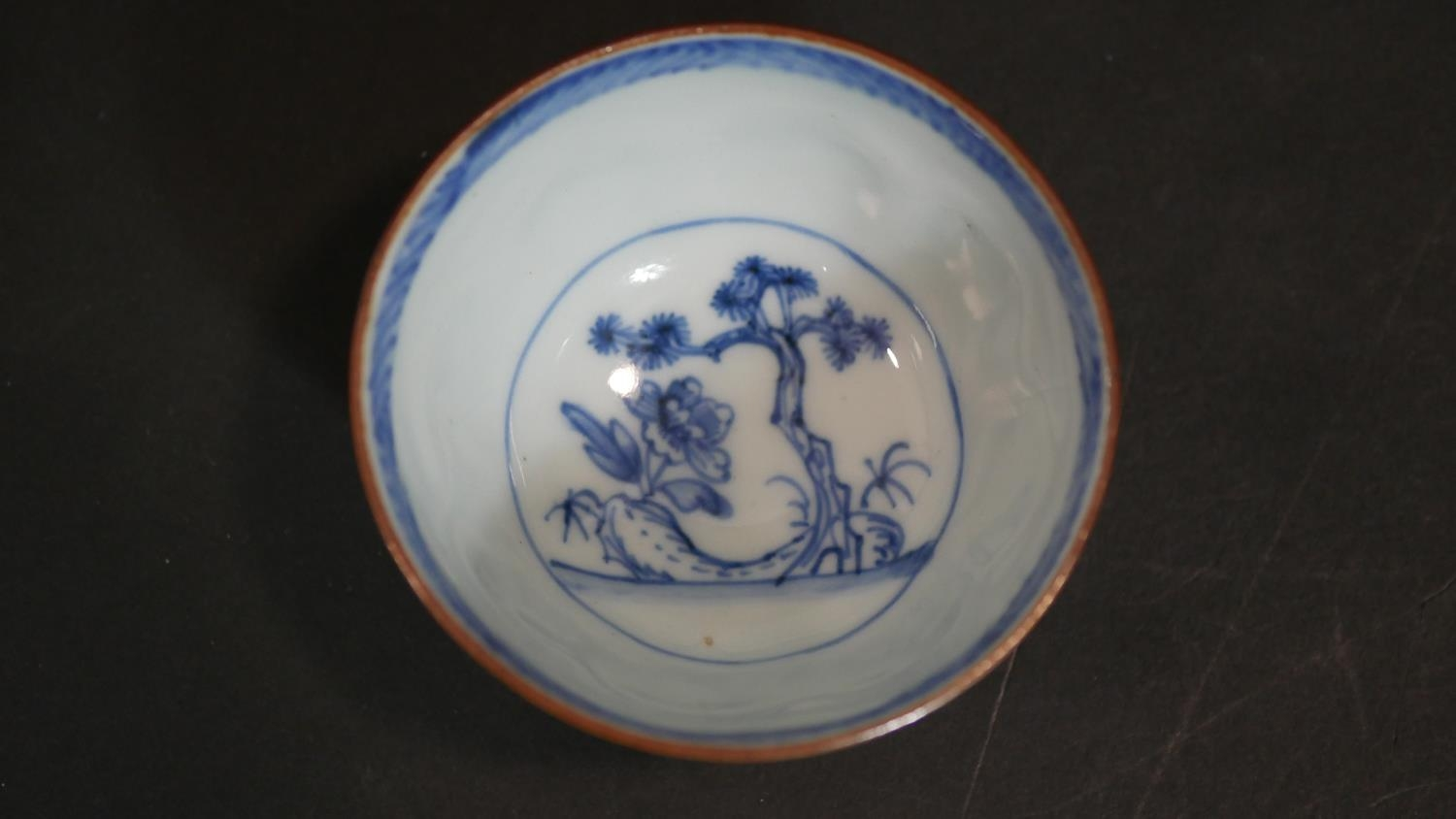 A Chinese embroidered scroll, three items of hand painted blue and white ceramics and a cased carved - Image 14 of 15
