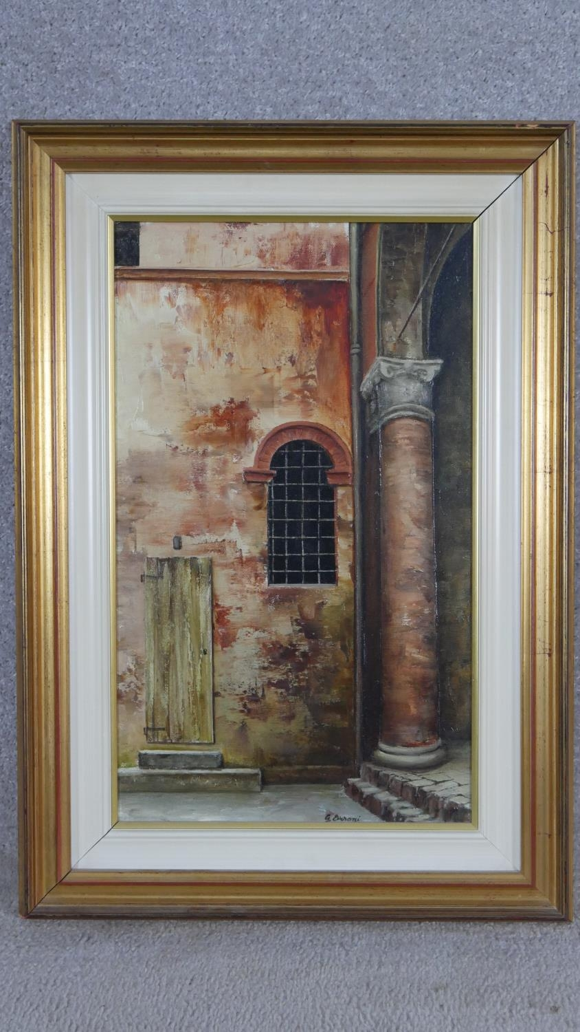 A framed oil on canvas, Italian street scene by Gilberto Orsoni with inscription to the reverse. H. - Image 2 of 7