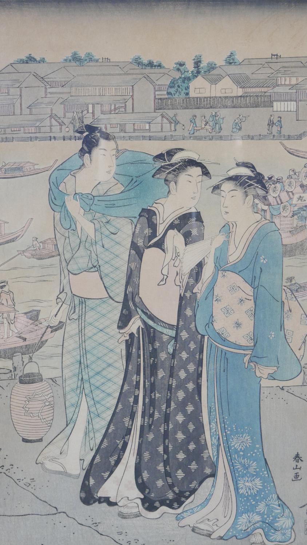 Katsukawa Shunzan - 1782-1798. A framed and glazed 18th century Japanese woodblock print, the left