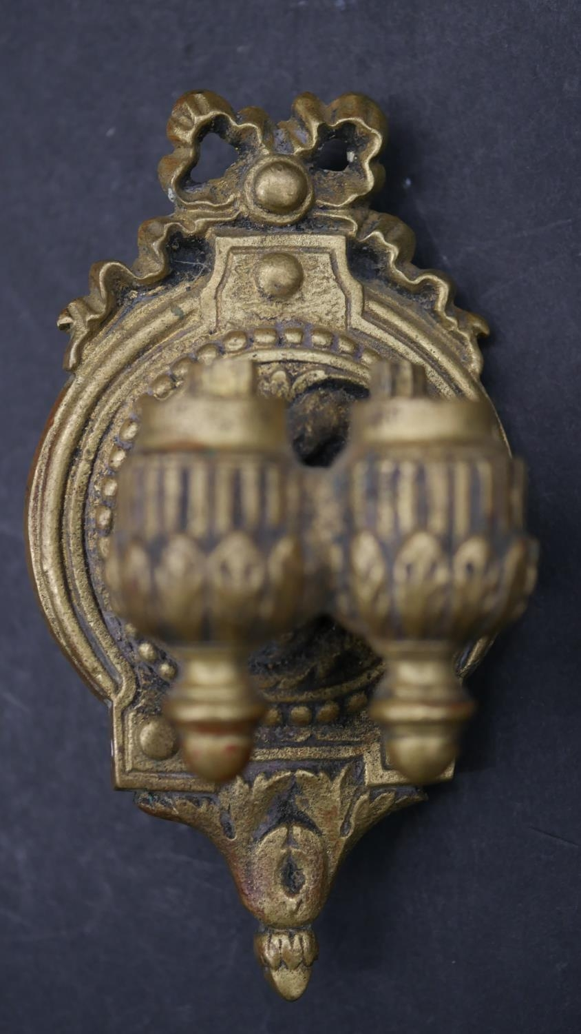 A pair of 19th century style brass twin branch wall sconces with adjustable and removable - Image 6 of 9