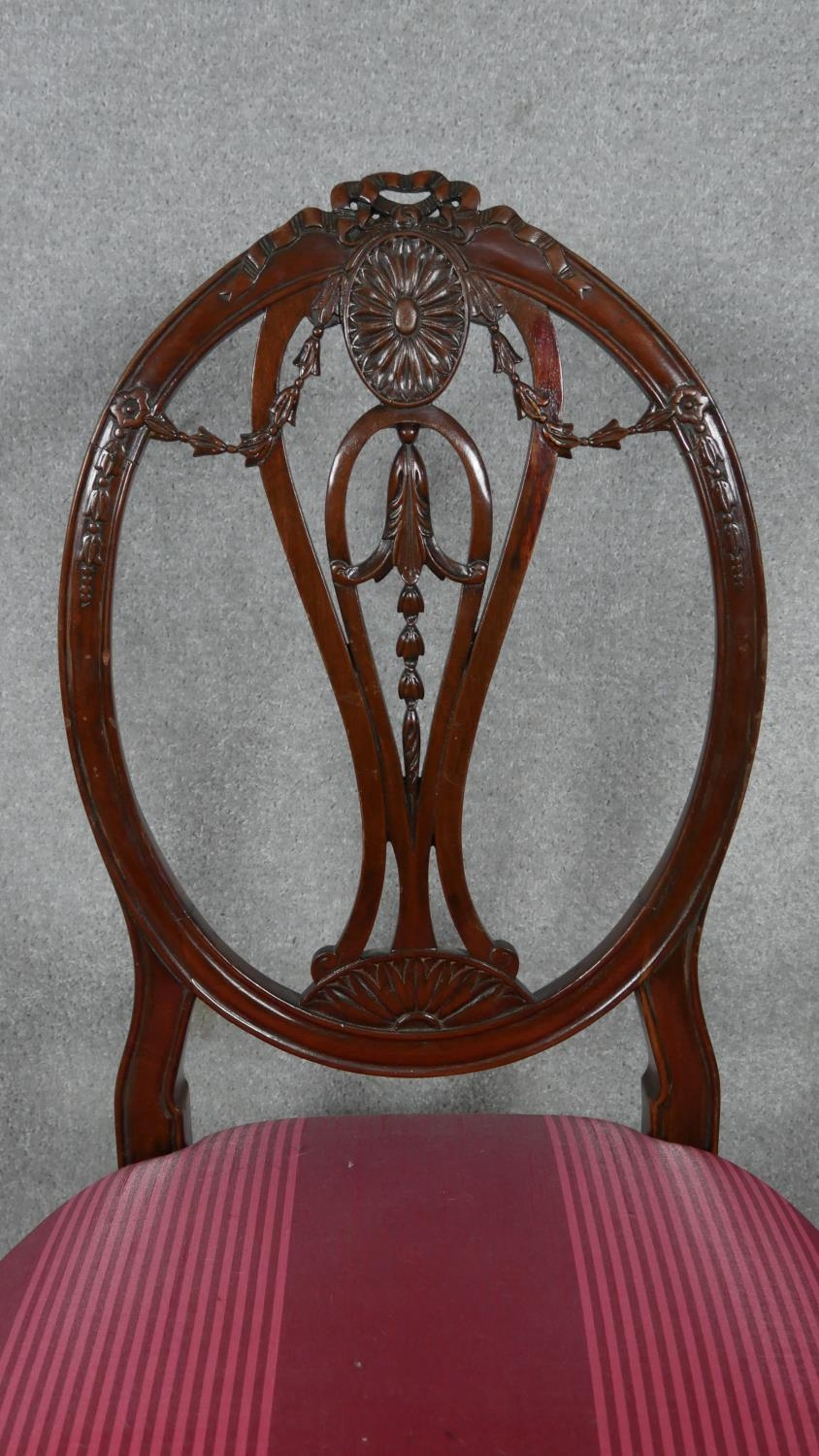 A 19th century mahogany dining chair with carved swag and ribbon detail to the back raised on square - Image 3 of 5
