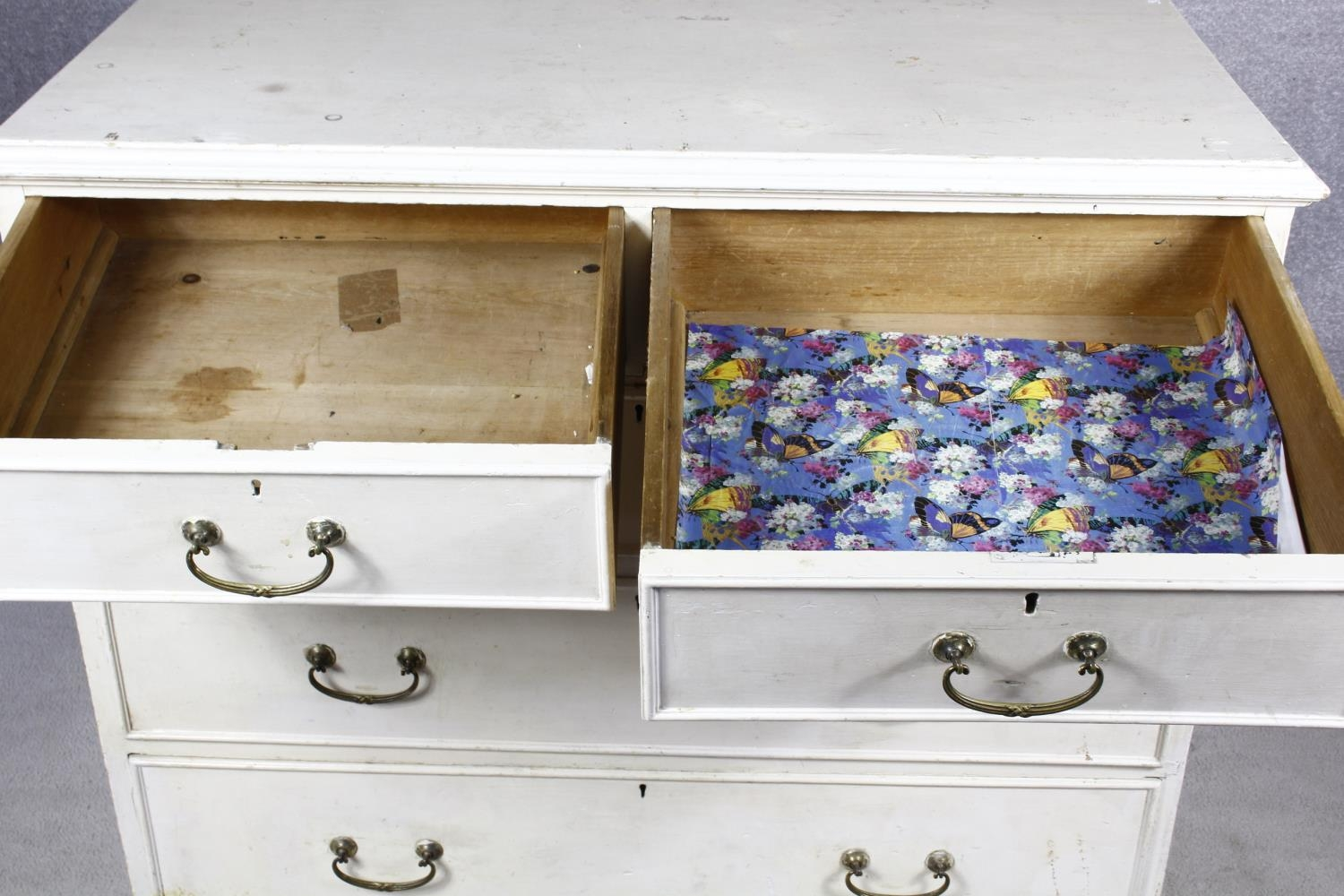 A 19th century later painted chest of two short over three long drawers on plinth base. H.87 W.104 - Image 14 of 14