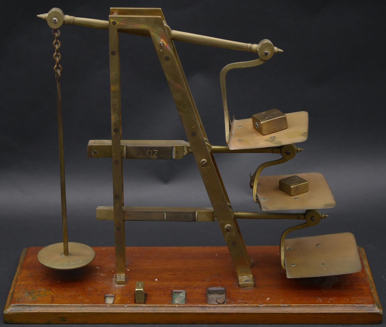 A set 19th century GPO brass triple ladder letter scales stamped De Grave & Co, London. H.33 L.41 - Image 2 of 4