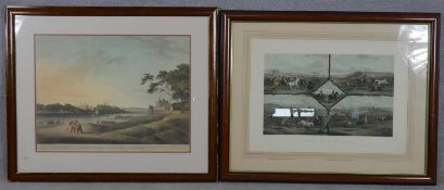 Two framed and glazed hand coloured prints. One of 'Lucknow Taken from the Opposite bank of the