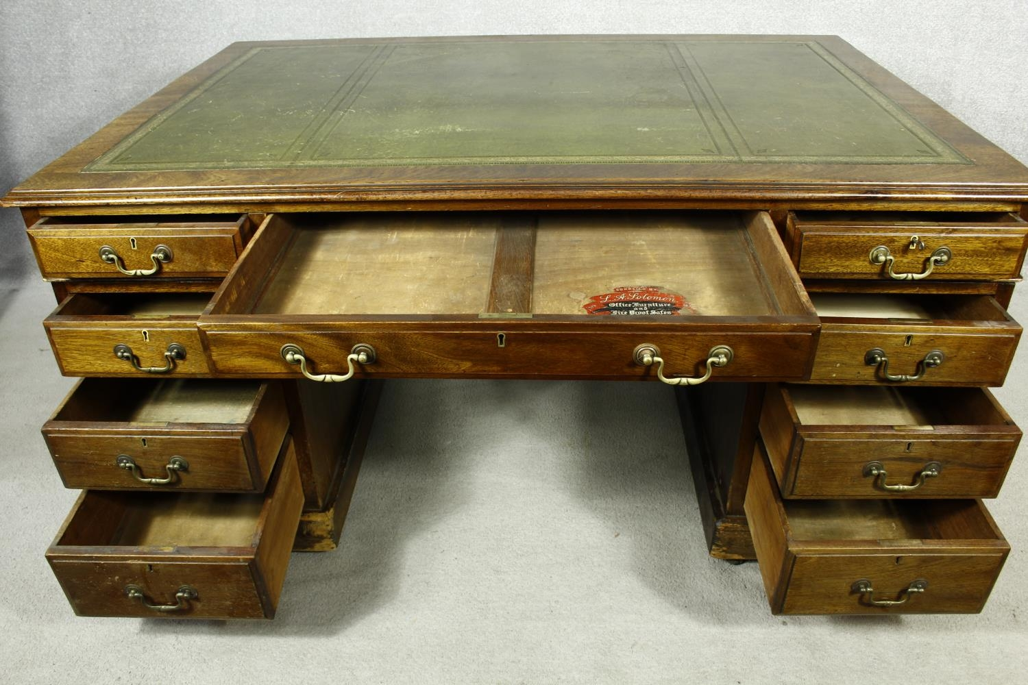 A C.1900 mahogany three section partner's pedestal desk with inset tooled leather top above an - Image 2 of 20