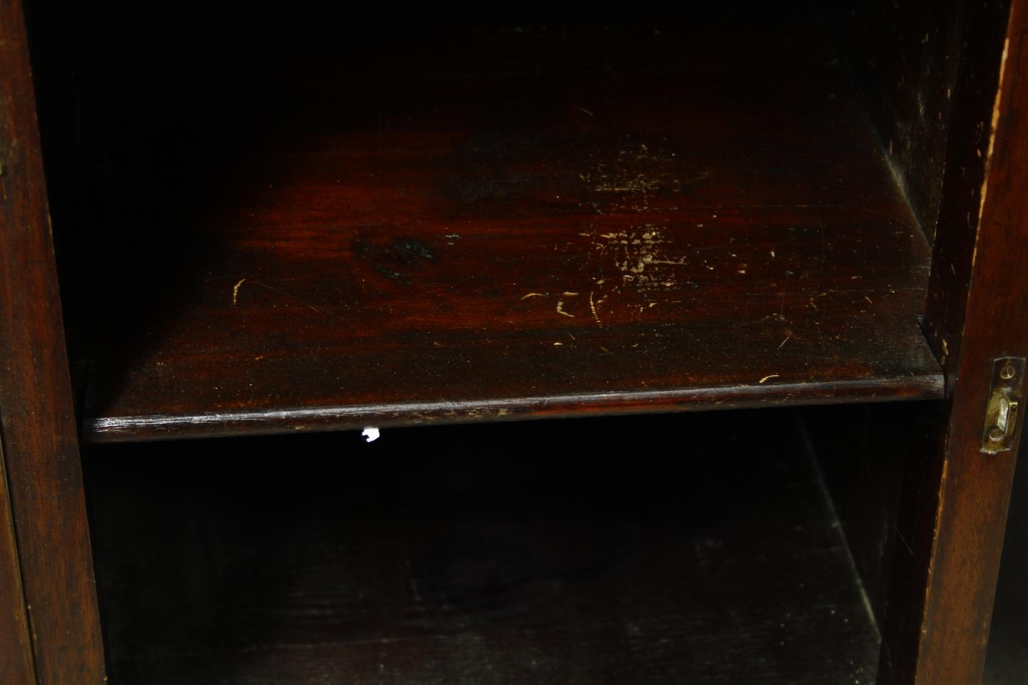 A C.1900 mahogany three section partner's pedestal desk with inset tooled leather top above an - Image 7 of 20