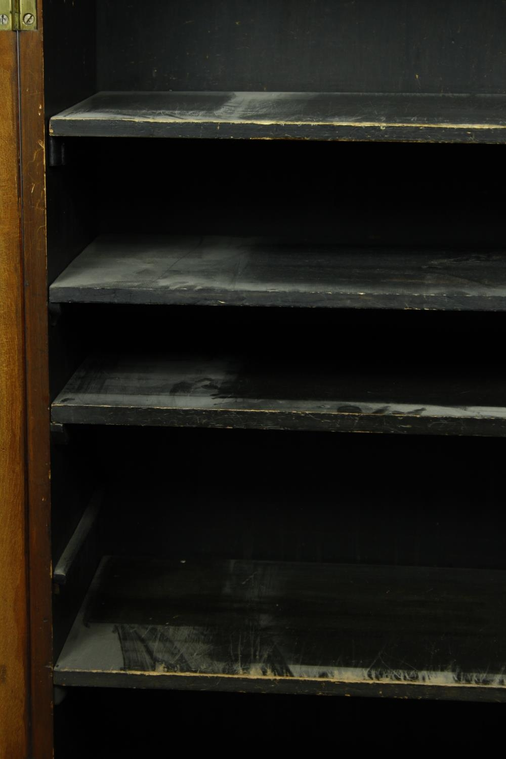 An early Victorian rosewood pier cabinet with arched panel door enclosing shelves on plinth base. - Image 10 of 11