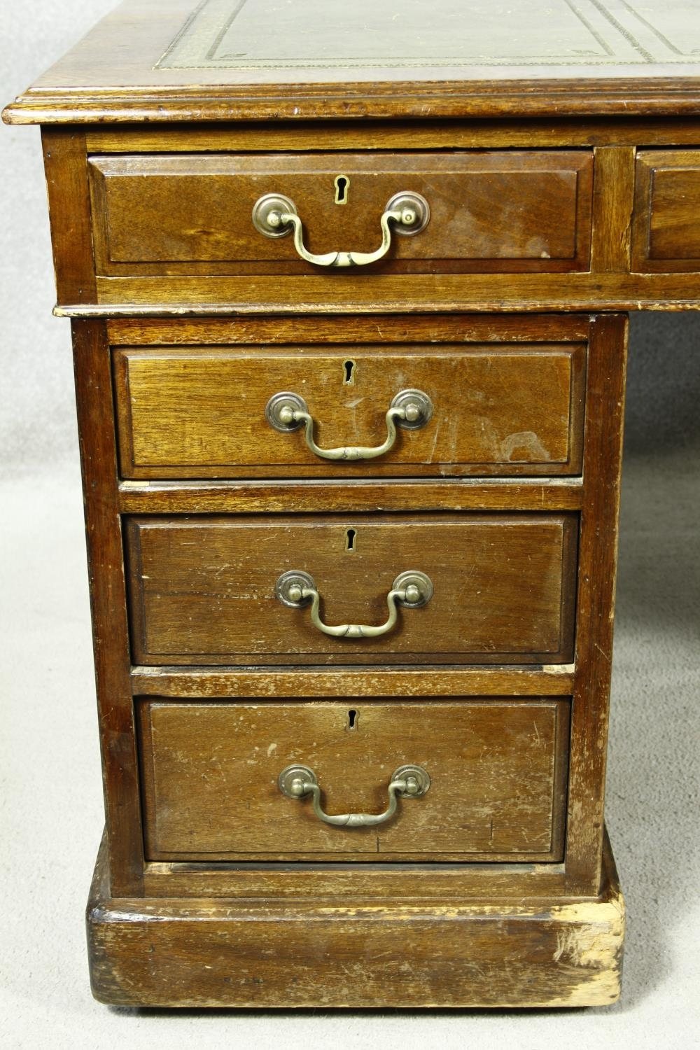 A C.1900 mahogany three section partner's pedestal desk with inset tooled leather top above an - Image 10 of 20