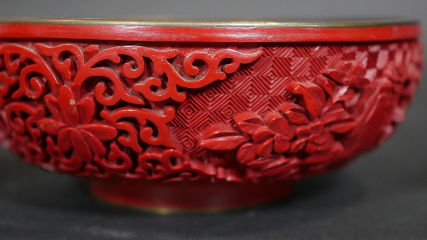 A Chinese carved cinnabar lacquer bowl with blue enamel interior and a pair of similar vases. Dia. - Image 7 of 9